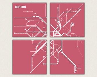 Boston Metro 4 Panel Canvas Giclee - Retro Pink and White