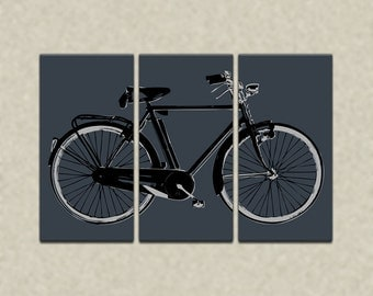 Retro Bicycle Triptych Canvas Giclee - Dark Gray and Black