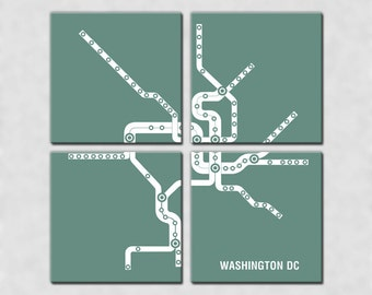 Washington DC Metro Subway Map4 Panel Canvas Giclee - Retro Teal and White