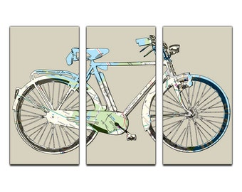 Boston Street Map Bicycle Triptych Canvas Giclee - Cream