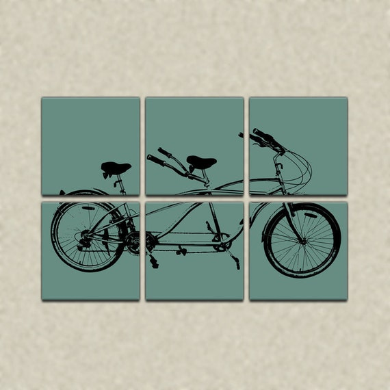 Tandem Bicycle Six Panel Canvas Giclee -  Retro Teal and Black