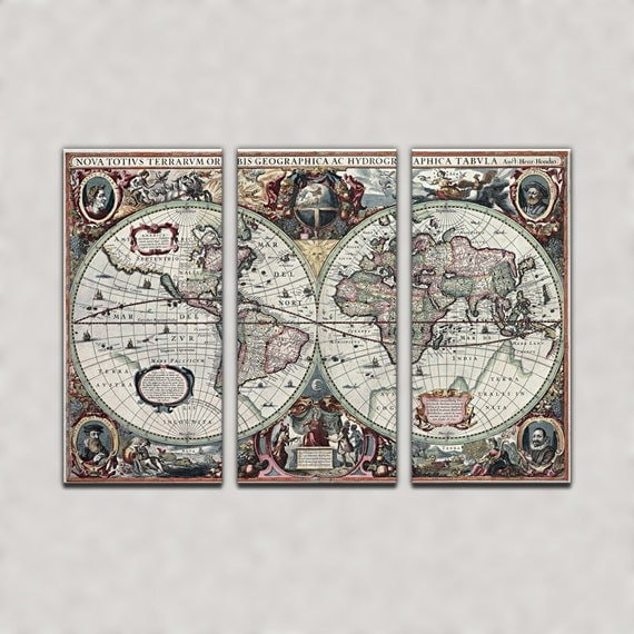 Antique World Map Reproduction Triptych Canvas Giclee