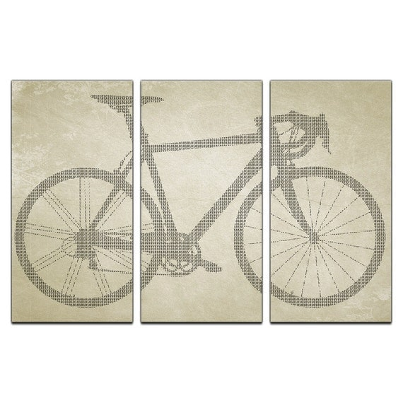 Binary Bicycle Triptych Canvas Giclee