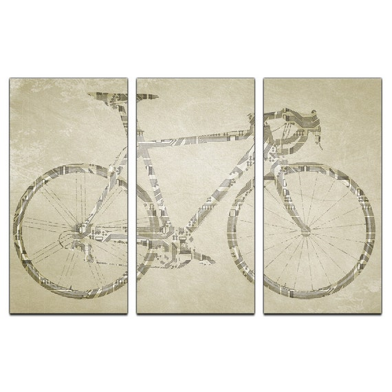 Circuit Board Bicycle Triptych Canvas Giclee