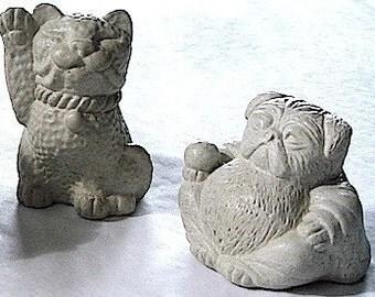 4 Zen Mini Lucky Pug Dog And Cat Bonsai Terrarium Statues