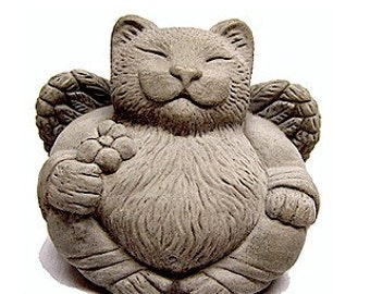 Angel Cat Art Sculpture Pet Memorial Cast Stone by Tyber Katz