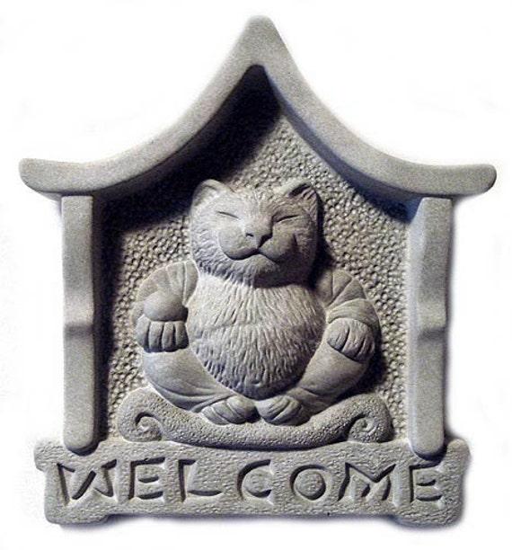 Tyber Katz Serene Lucky CAT Buddha Welcome Plaque