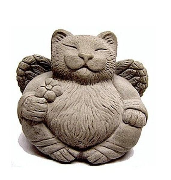 Angel Cat Art Sculpture Pet Memorial Cast Stone by Tyber Katz