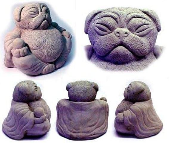 Zen PUG Dog Buddha Garden Art Statue Sculpture By Tyber Katz / Pug Lover  Gift