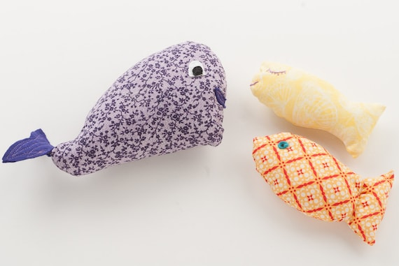 Stuffed Whale and Fish - Ocean Friends Ragdoll Set - 1 Whale, 2 Fish - Cotton & Felt Dolls - Waldorf Style Toys