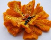 Wool Felted Pumpkin Orange Fairy Flower Pin