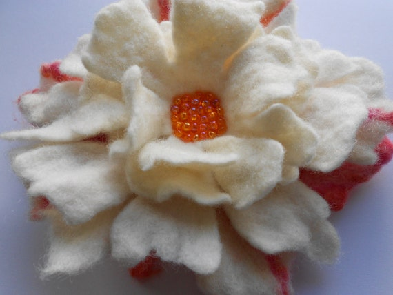 Wool Felted Flower Pin White and Multicolored with Orange Beaded Center