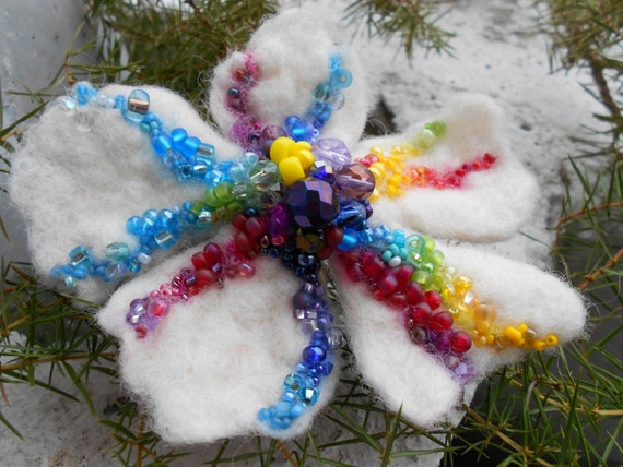 Wool Felted Flower Pin Rainbow Colors Red Purple White Green Yellow on White Snow