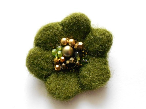 Moss Green and Golden Beads Wool Felted Spring Flower Pin