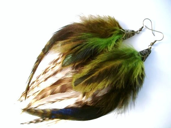 Woodland Sprite- Long Fluffy Earthy Feather Earrings