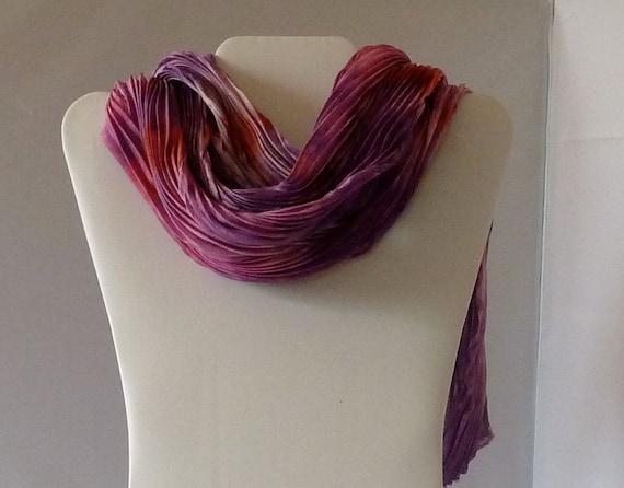 Red-Purple Arashi Shibori Scarf