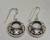 Filigree BASKET Sterling Silver EARRINGS FLEUR De Lis French Wire Dangle