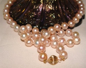 14k Gold AAA Quality Blush Pink Lustrous South Seas AKOYA Pearls 19 inch