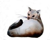 Cat art - Miss Demure - 6x9 inch Original Watercolor Painting - watercolor cat painting brown cat