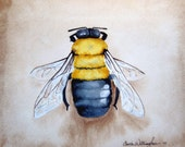 Watercolor bee painting - Bumble Bee -11x12 inch Original Watercolor Painting- bumble bee art, home decor