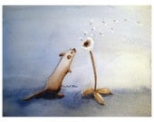 Mouse Watercolor Art Painting - One Tiny Wish - 5x7 inch Signed Art Print of Watercolor Painting -Blue Nursery Art, animal paintings
