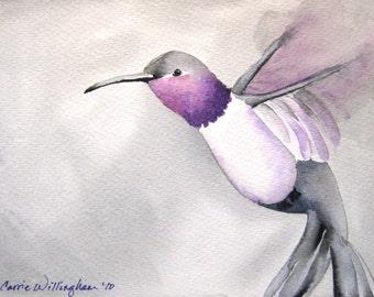 Flight of the Hummingbird - Art Print of My Original Watercolor Painting - lavender and gray hummingbird nursery art