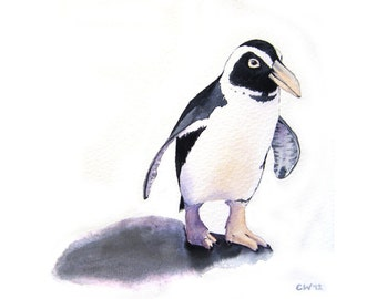 Penguin - Art Print of my Original Watercolor Painting - penguin watercolor home decor nursery art