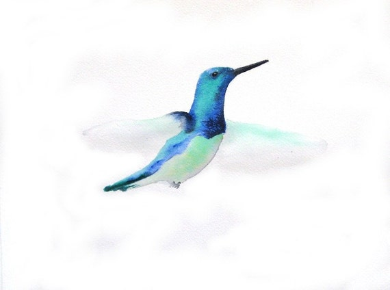 Flutter - Blue Green Hummingbird -  Signed Art Print - Royal Blue Turquoise hummingbird watercolor home decor blue nursery art