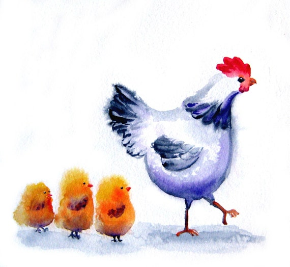 Chicken Art - Mama Hen And Her Baby Chicks - 8x10 inch Signed Art Print  -  nursery, kitchen art, gift for mom