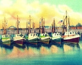 Boat Photograph, Boat Decor,  Old Florida Coastal Art, Nautical Art, Nautical Decor,SHRIMP BOATS fishing fleet, vintage boats, 8x10 print