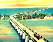 THE KEYS print,  Key West Florida Art Print, vintage beach art, Pigeon Key 1930s coastal wall art, aqua yellow, bridge photograph bridge art