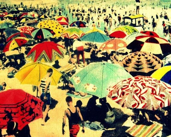 umbrellas photograph DECO BEACH 8x10 art print 1930s red aqua yellow wall decor vintage beach lover gift Nostalgia