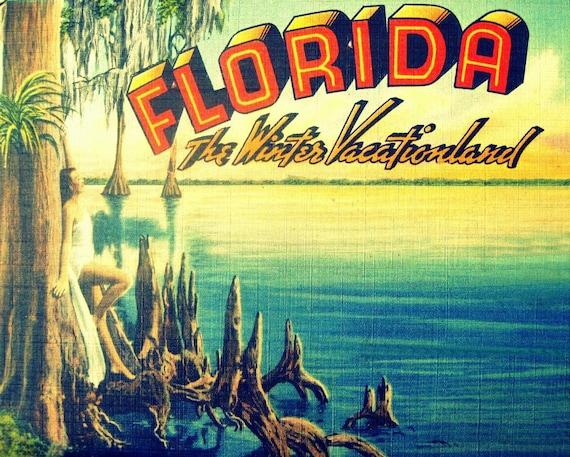 Florida Art Print coastal decor old Florida State ad Vacationland photograph aqua yellow vintage vacation summer art deco Florida lover gift