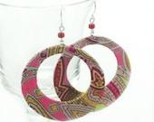 Silk Hoop Earrings, Paisley Print Silk Fabric, for Summer Fun, Beach Wear, Great Design and Very Lightweight