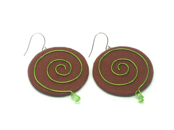 Swirl Design Earrings, Lime Green and Brown, Textile Earrings, Fashion Jewelry, City Chic, Runway Style, Very Elegant