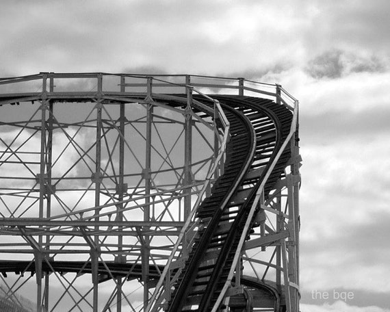 Coney Island Cyclone Photography Print, NYC Landmark Wall Art, New York City Wooden Roller Coasters