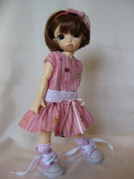 """PINK RIBBONS  made to fit Fairyland LittleFee 10"""" Yosd bjd"""