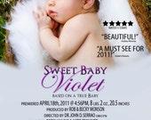 Movie Poster... Baby Announcement.. Birth Announcement... Birthday Card... Custom birth announcement