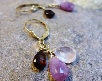 Trifecta Earrings  In Pink - Umbray Sapphire, Rose Quartz, and Garnet