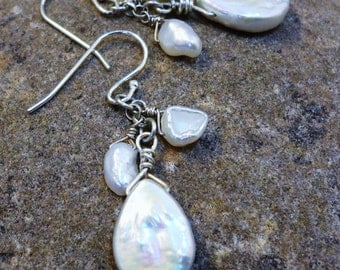 Sale 20 % off - Triple Pearl Earrings - Keishe and Tear Drop Shaped Pearls and Sterling Silver
