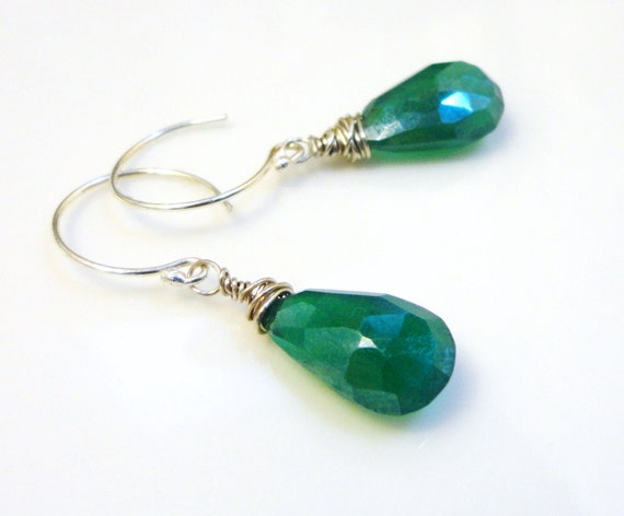 Eros Earrings - Green Onyx and Sterling Silver