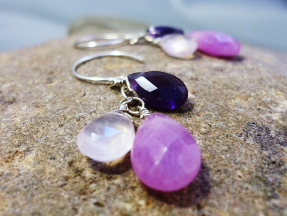 Trifecta Earrings in Sterling Silver - Rose Quartz, Amethyst, and Lavender Jade