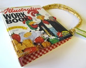 Book Purse Illustration Red Check Rooster American Gothic
