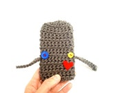 Hearted iPhone Case - red yellow blue brown - crocheted gadget electronic - stocking stuffer - Ready Handmade by dslookkin on Etsy