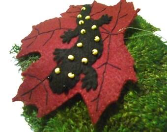Yellow Spotted Salamander on Maple Leaf Felt Ornament