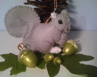 Grey Squirrel Felt Ornament