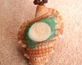 SALE Shell necklace with fossilized snail (Shiva's eye) imbedded with malachite powder FREE SHIPPING within the United States