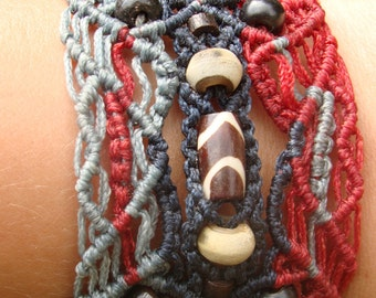 Macrame bracelet with wood, buffalo horn and bone beads FREE SHIPPING within the United States