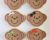Embroidered Felt Monkey Faces with Bows - Brown - Set of 4