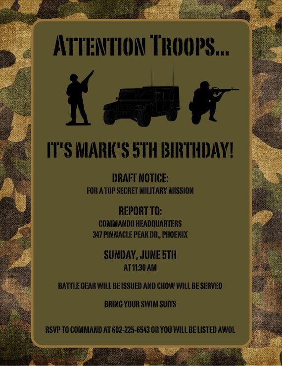reserved thehunterfam army birthday invitations & save the, Birthday invitations
